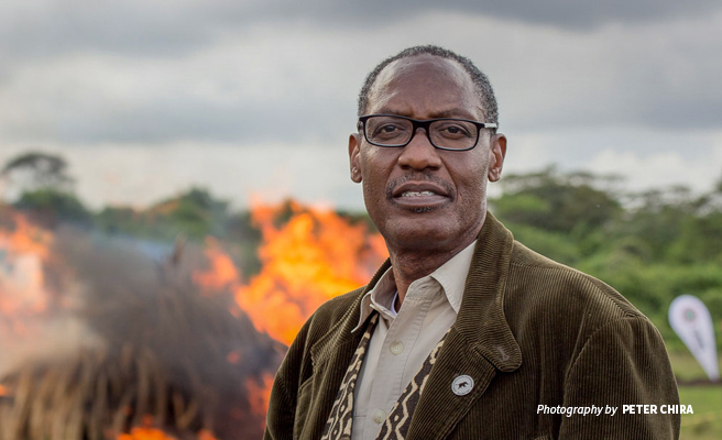 Photo of African Wildlife Foundation CEO Kaddu Sebunya at ivory burn event in Nairobi National Park