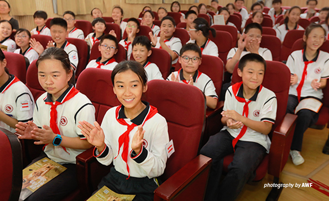 Photo of students attending AWF wildlife awareness lecture at a school in Shanghai