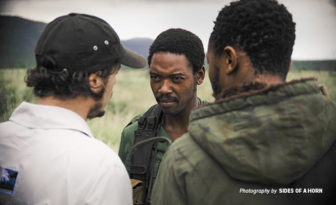 Photo of filmmaker and AWF Council Member Toby Wosskow directing actors on the set of Sides of a Horn