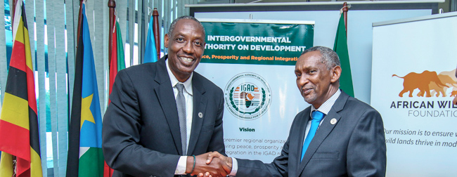 Photo of AWF CEO Kaddu Sebunya signing MoU with Intergovernmental Authority on Development