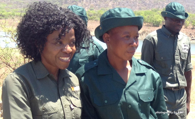 Image Olivia Mufute, AWF's Country Manager of Zimbabwe, and her best student.