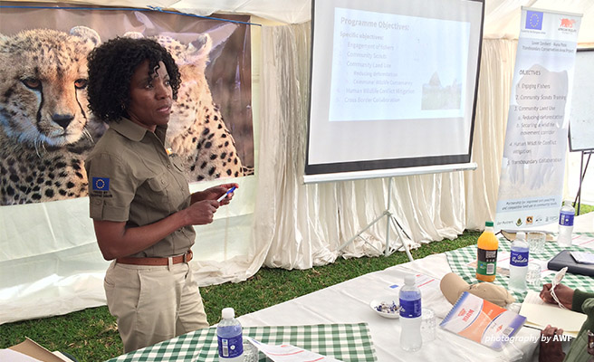 Image Olivia Mufute, AWF's Country Manager of Zimbabwe, explaining the scope of community conservation.
