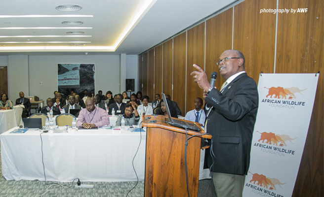 Photo of AWF Vice President Species Protection presenting to participants at East African Wildlife Prosecutors Coalition Workshop