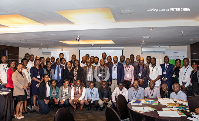 Photo of participants at ABCG Freshwater Conservation and Water Sanitation and Health Integration Community of Practice meeting in Nairobi, Kenya