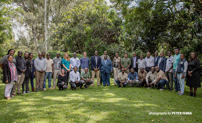 Photo of AWF CEO Kaddu Sebunya and partiicipants at African Lion Survey Training at AWF headquarters