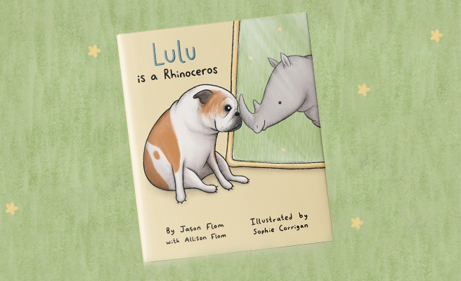 """Image of the cover of the children's book """"Lulu is a Rhino"""" featuring an illustrated french bulldog looking into a mirror and seeing a rhinoceros staring back"""