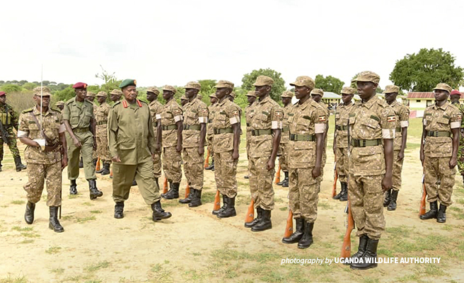 Photo of AWF-trained Uganda Wildlife Authority rangers at official graduation ceremony