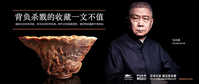 Image of Chinese antiques collector Ma Weidu holding a piece of rhino horn
