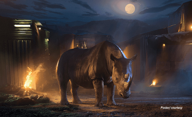 An illustration of a rhino in front of an informal settlement