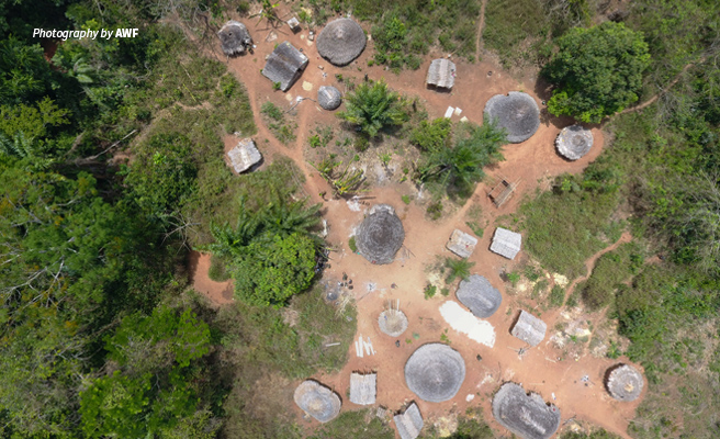 Aerial photo of small village in Bili-Uele Protected Area Complex in DRC