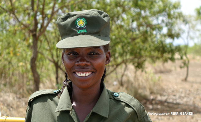 Photo of a female wildlife protection ranger from Uganda Wildlife Authority