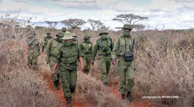Photo of LUMO Conservancy community wildlife scouts on patrol